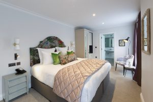 Shot of the bed in the Agapanthus room
