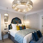 Hypnos King-size bed with Elite Cashmere Mattress and bespoke handmade lampshade in the Delphinium feature room