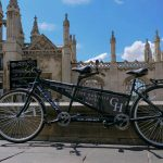 TYhe Gonville Tandem bike outside King's College, Cambridge