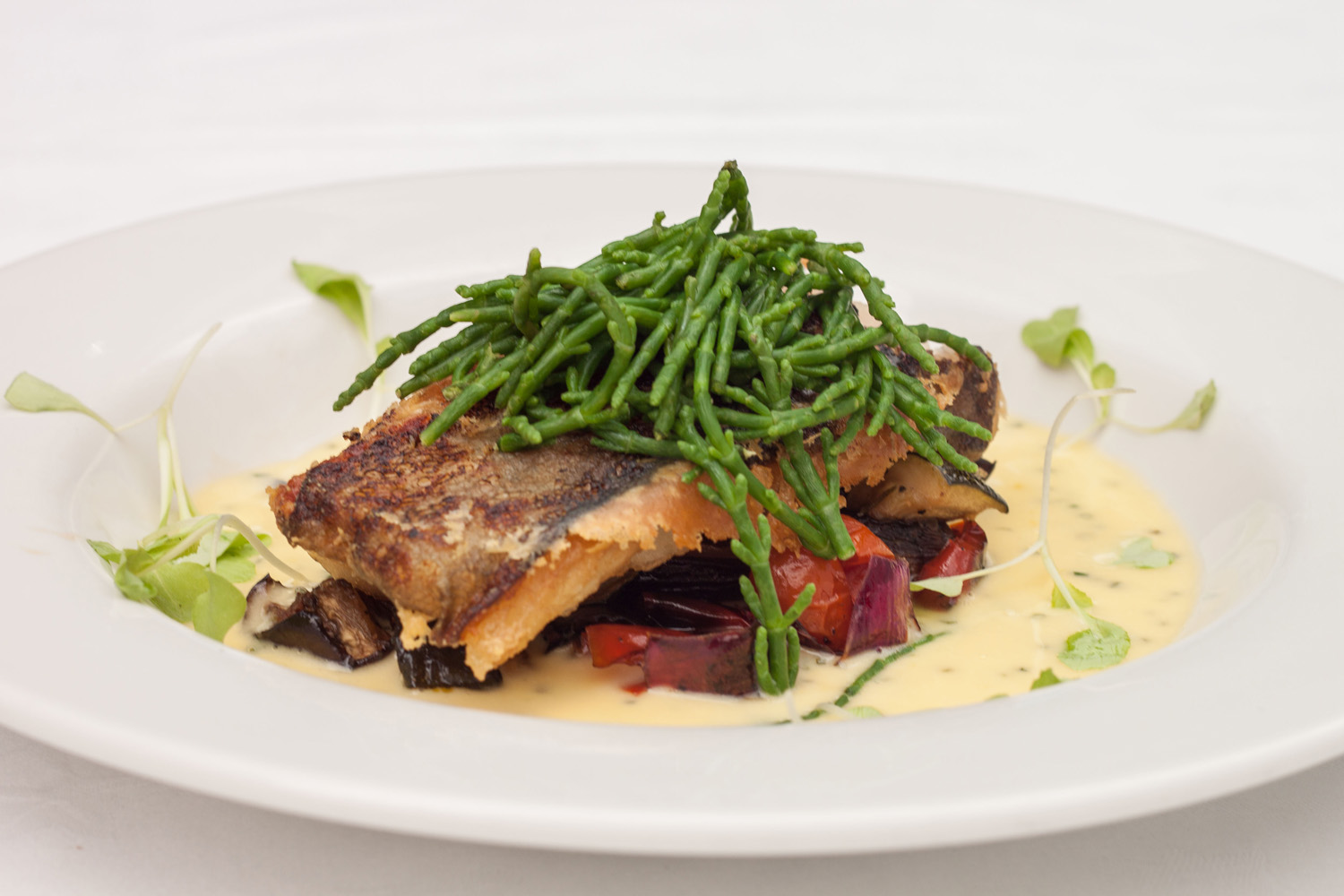 Pan-fried salmon with samphire