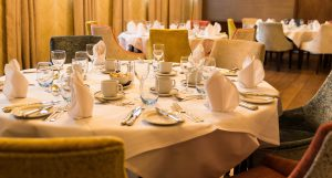 A private dining table setting at Gonville Hotel