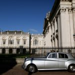 A Gonville Bentley outside King's College, Cambridge