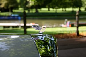 The Bentley hood ornament at the Backs in Cambridge