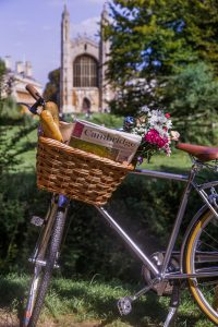 A Gonville Hotel bike in view of King's College, Cambridge