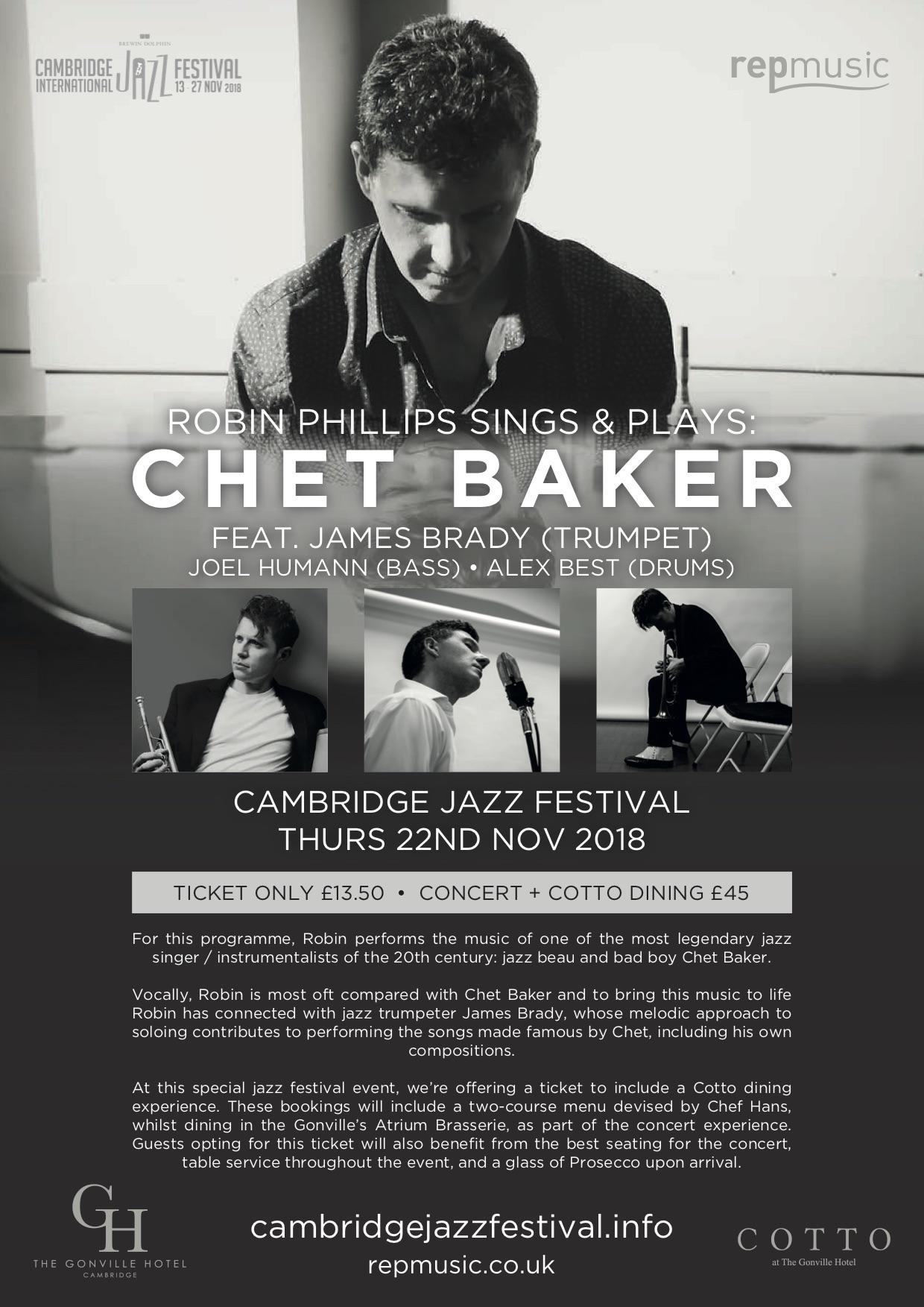 Robin Phillips Sings & Plays - Chet Baker A4 Poster (Portrait) - Cambridge Jazz Festival Thurs 22nd Nov 2018