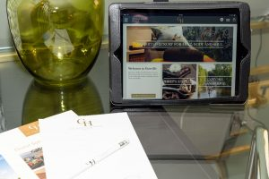 An iPad for accessing guest services at Gonville Hotel